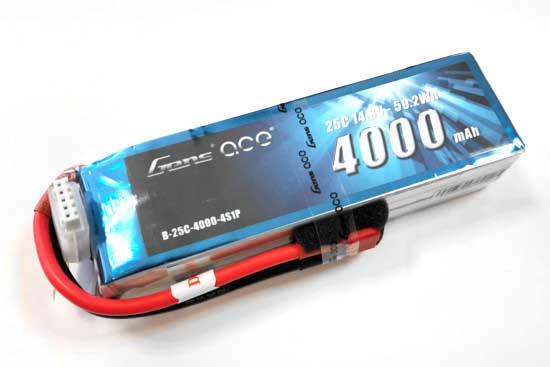 Gens ace 4000mAh 14.8V 25C 4S1P Lipoバッテリー Deans plug