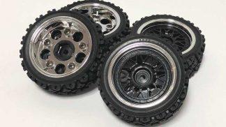 【中古販売】 タミヤ ラリーブロックタイヤ 2ピース メッシュホイール付き(1台分)