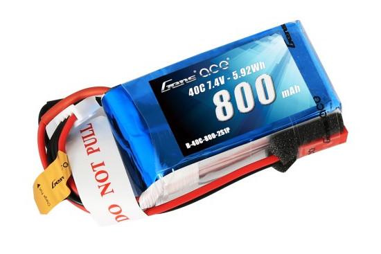 Gens ace 800mAh 7.4V 40C 2S1P Lipoバッテリー JST-SYP plug
