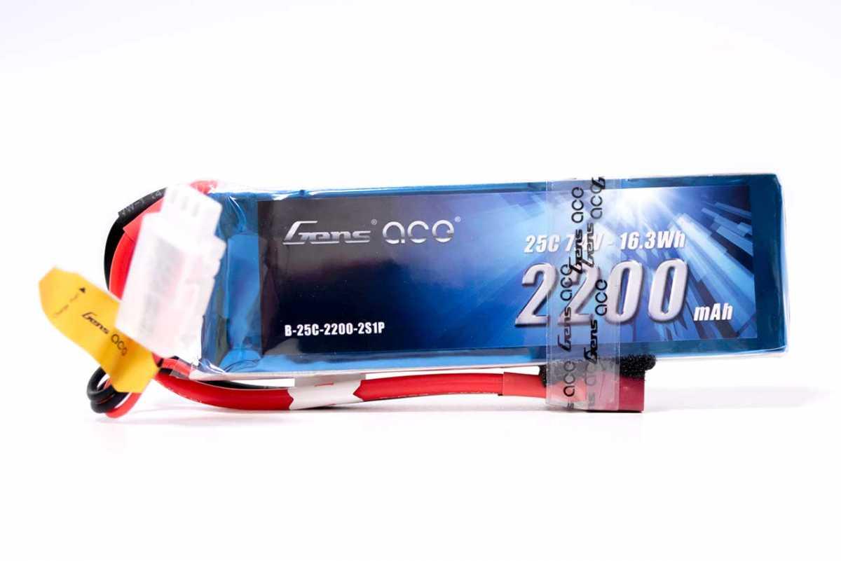 Gens ace 2200mAh 7.4V 25C 2S1P Lipoバッテリー Deans plug