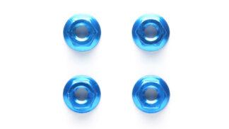 タミヤ 4mmアルミセレーションホイールナット(ブルー・4個) 42143